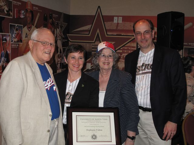 Don Cleveland; Stephanie Fulton with award, Ana Cleveland, Oliver Bogler